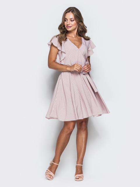 Розовое платье из софта в горох с запахом 38952, фото 1