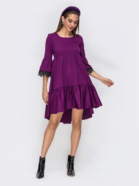 """Фиолетовое платье с удлиненной спинкой и рукавами """"колокол"""" 42251, фото 1"""