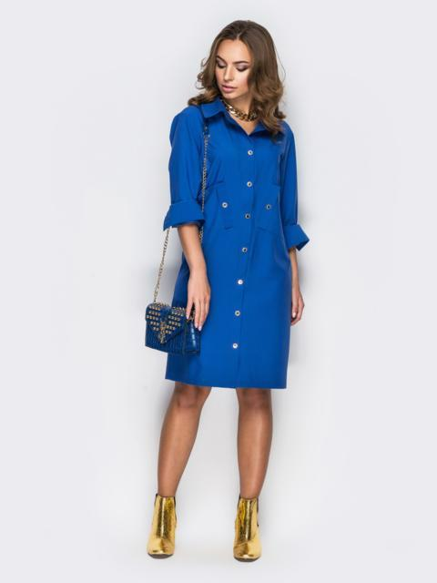 Голубое платье-рубашка с необычными карманами на полочке1 - 11169, фото 1 – интернет-магазин Dressa