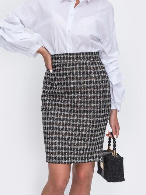 Коричневая юбка-карандаш на молнии  - 49598, фото 1 – интернет-магазин Dressa
