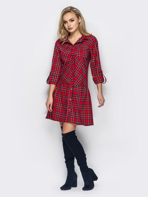 Красное платье-рубашка в клетку с функциональными карманами  13585, фото 1