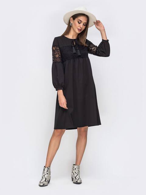 Платье чёрного цвета с гипюровыми вставками 42261, фото 1