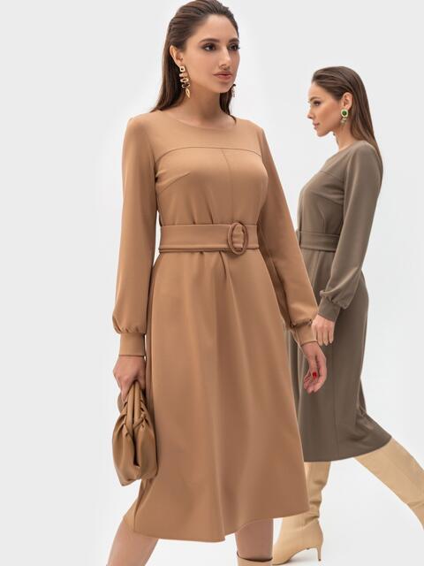Платье из джерси бежевого цвета с расклешенной юбкой 51253, фото 1