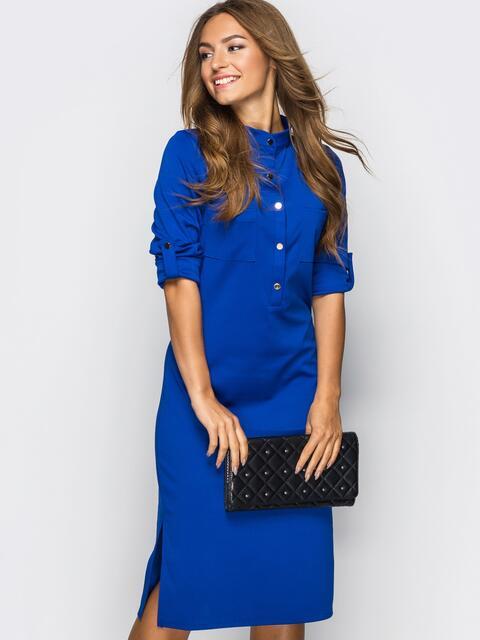 Платье полуприталенного кроя с функциональными шлевками синее - 13435, фото 1 – интернет-магазин Dressa
