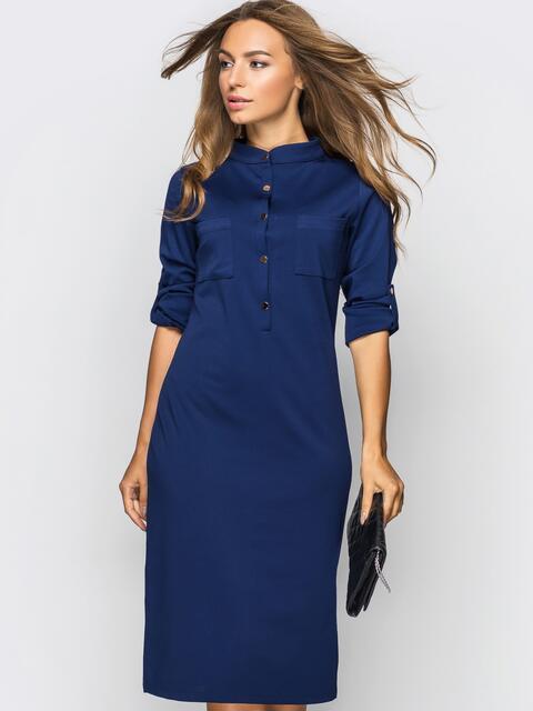 Платье полуприталенного кроя с функциональными шлевками тёмно-синее - 13804, фото 1 – интернет-магазин Dressa