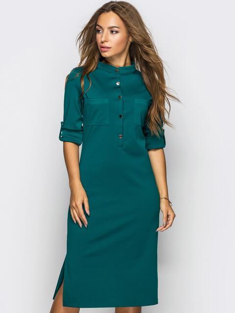 Платье полуприталенного кроя с функциональными шлевками зелёное - 13805, фото 1 – интернет-магазин Dressa
