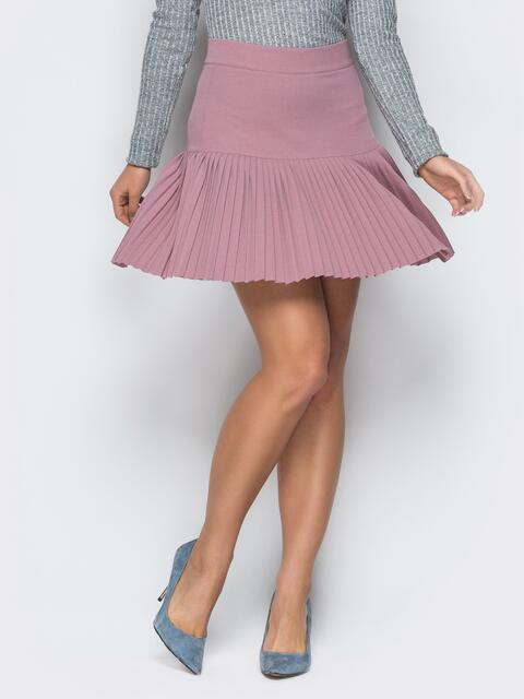 Пудровая плиссированная юбка 19209, фото 1