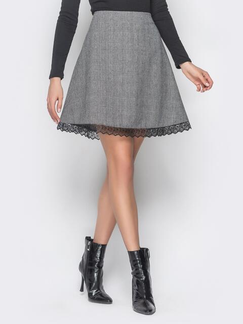 Серая юбка-трапеция с кружевом по низу - 19220, фото 2 – интернет-магазин Dressa