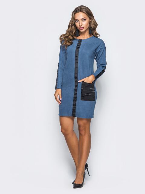 Вельветовое платье синего цвета с карманами - 16459, фото 1 – интернет-магазин Dressa