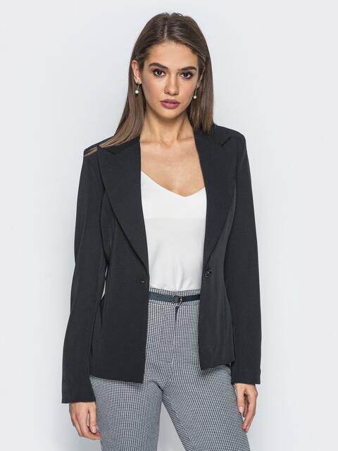 Жакет с подкладкой и подплечниками черный - 14439, фото 1 – интернет-магазин Dressa