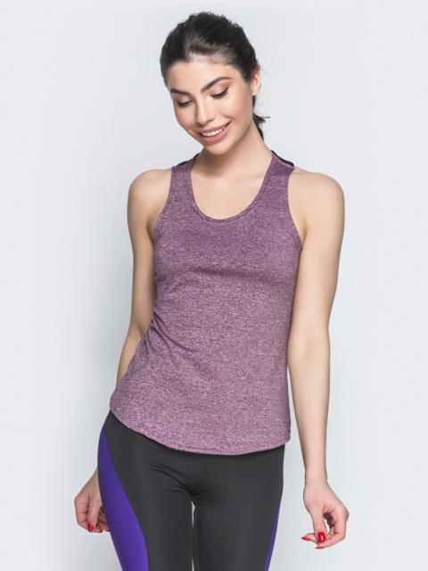 Женская майка-боксерка с контрастными вставками фиолетовая - 38819, фото 1 – интернет-магазин Dressa