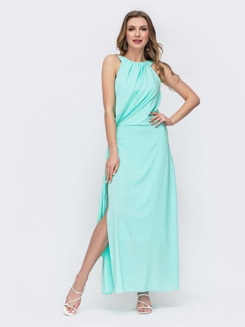 Бирюзовое платье-макси с американской проймой и разрезами по бокам 46714, фото 1