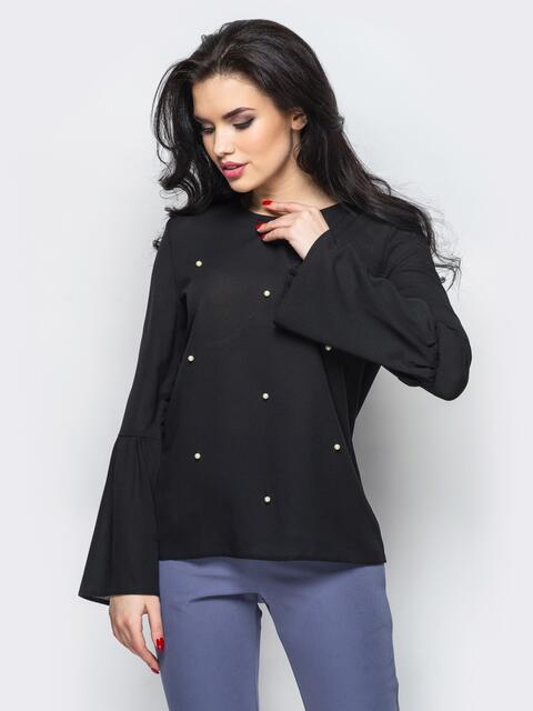 Блузка с рукавом-колокол и пришивными бусинами черный - 12191, фото 1 – интернет-магазин Dressa