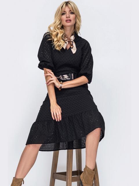 Чёрное платье из прошвы и оборкой по низу 50161, фото 1