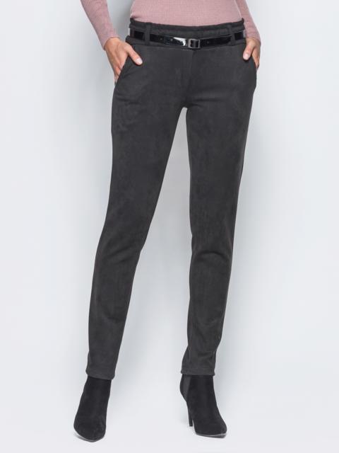 Черные замшевые брюки с кожаной отделкой на карманах - 15719, фото 1 – интернет-магазин Dressa