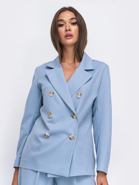 Двубортный пиджак голубого цвета 50093, фото 1