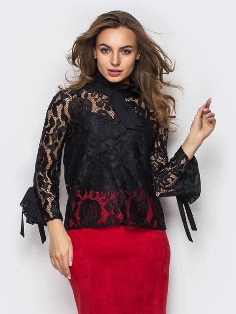 Гипюровая блузка с оборками на рукавах и лентами-завязками - 12186, фото 1 – интернет-магазин Dressa