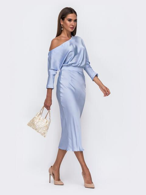 "Голубое платье из шелка ""Армани"" на одно плечо - 50091, фото 1 – интернет-магазин Dressa"