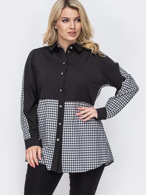 Комбинированная блузка батал в клетку чёрная 49884, фото 1