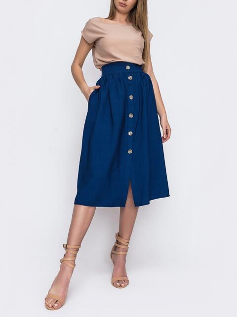 Льняная юбка-миди на пуговицах синяя 48204, фото 1