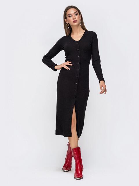 Обтягивающее платье из трикотажа с нитью люрекса черное 41742, фото 1