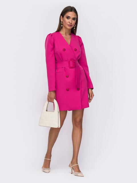 Платье-пиджак розового цвета с широким поясом 50089, фото 1