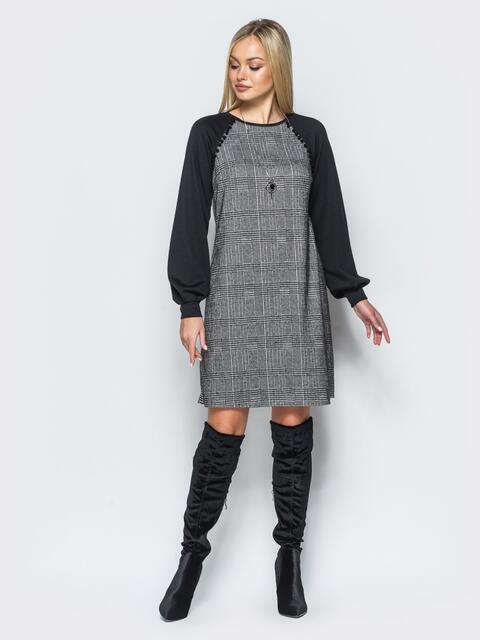 Платье в мелкую клетку из костюмки с трикотажными рукавами реглан - 17573, фото 1 – интернет-магазин Dressa