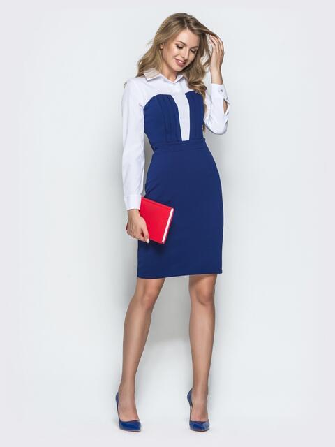 Приталенное платье с имитацией блузки синее - 40010, фото 1 – интернет-магазин Dressa