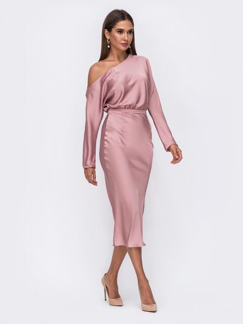 """Розовое платье из шелка """"Армани"""" на одно плечо - 50092, фото 1 – интернет-магазин Dressa"""