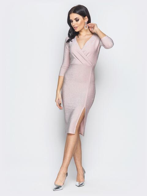Розовое платье с ложным запахом и разрезом сбоку - 19000, фото 1 – интернет-магазин Dressa