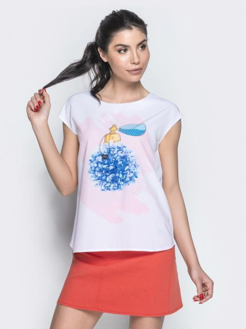 Белая блузка без рукавов с авторским принтом - 20974, фото 1 – интернет-магазин Dressa