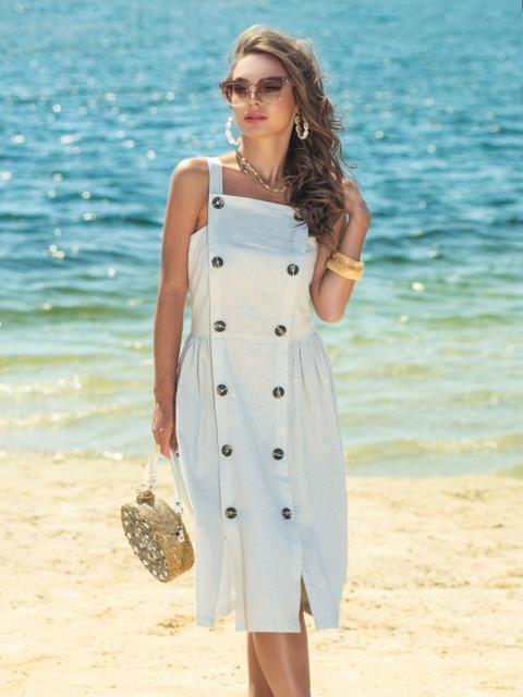 Бежевое платье из льна с резинкой по спинке - 38925, фото 1 – интернет-магазин Dressa