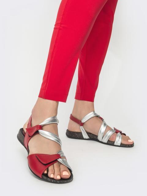 Кожанные босоножки на пробковой подошве красные - 39615, фото 1 – интернет-магазин Dressa