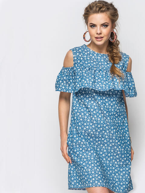 Летнее платье с открытыми плечами в принт - 12601, фото 1 – интернет-магазин Dressa