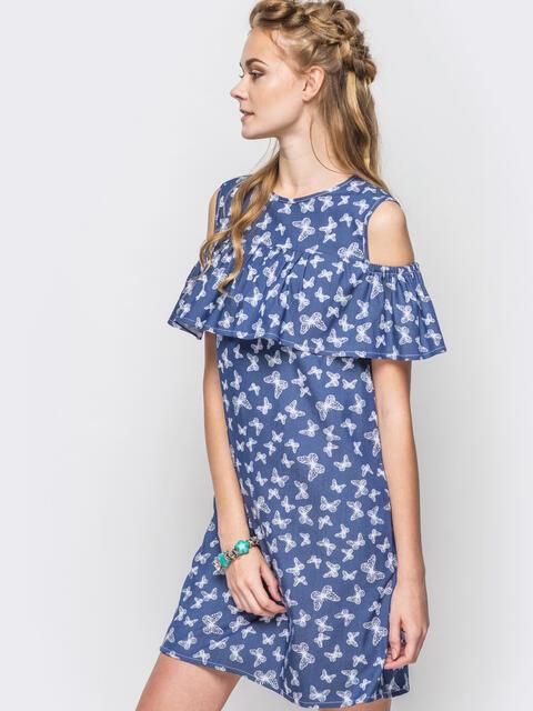 Летнее платье с открытыми плечами в принт - 12602, фото 1 – интернет-магазин Dressa