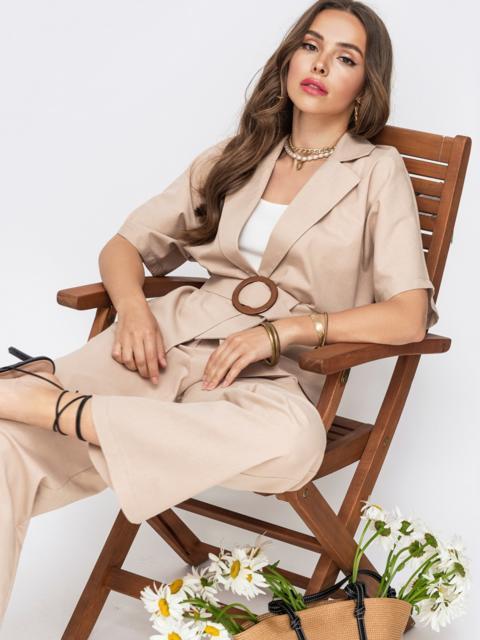 Льняной комплект из жакета и брюк-клеш бежевый - 49141, фото 1 – интернет-магазин Dressa