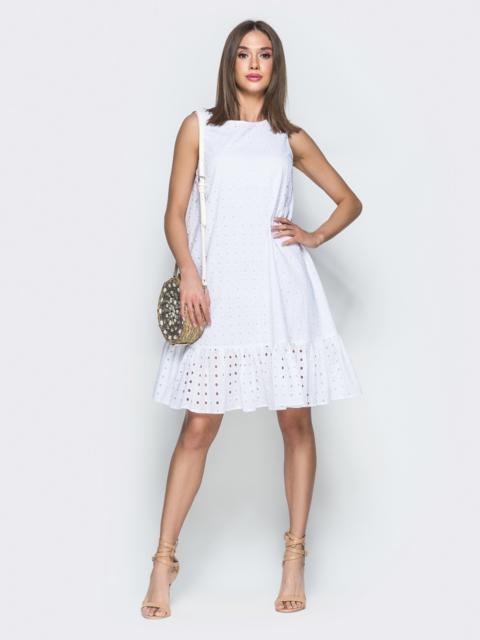 Платье-трапеция из прошвы с воланом по низу белое - 38593, фото 1 – интернет-магазин Dressa