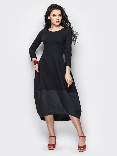 Платье-тюльпан с подолом черное 13530, фото 1