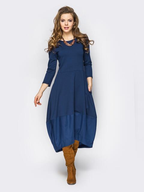 b36b13b709be80e Платье-тюльпан с подолом синее - 13531, фото 1 – интернет-магазин Dressa