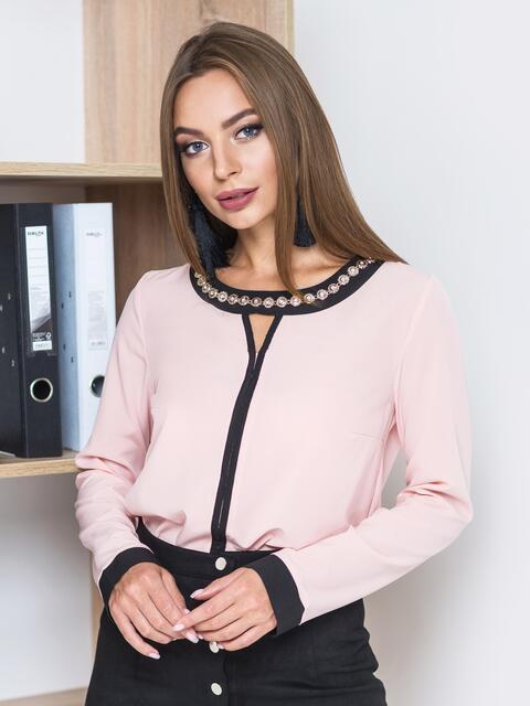 Розовая блузка с контрастной отделкой и украшением по горловине - 13247, фото 1 – интернет-магазин Dressa
