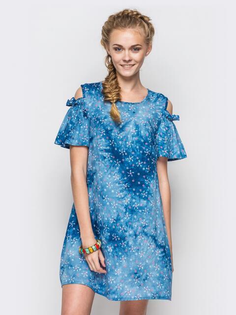 синее платье трапеция с цветочным принтом 36109, фото 1