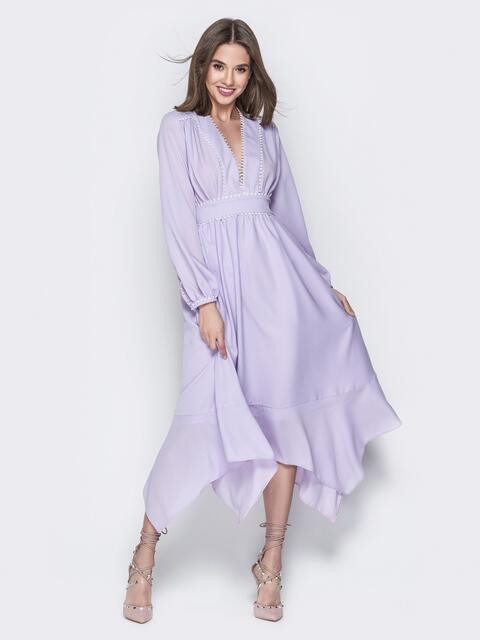 Сиреневое платье с глубоким декольте и вшитым поясом - 20114, фото 1 – интернет-магазин Dressa