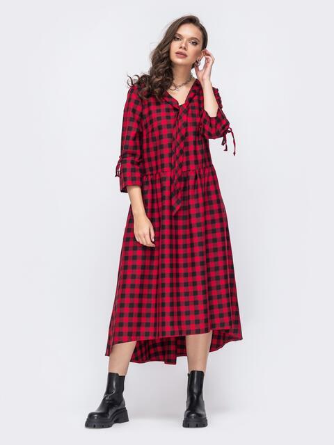 Свободное платье батал в клетку со шлейфом красное 51483, фото 1