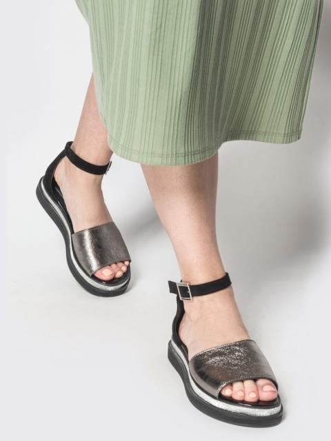 Чёрные босоножки из натуральной кожи с напылением - 39621, фото 1 – интернет-магазин Dressa