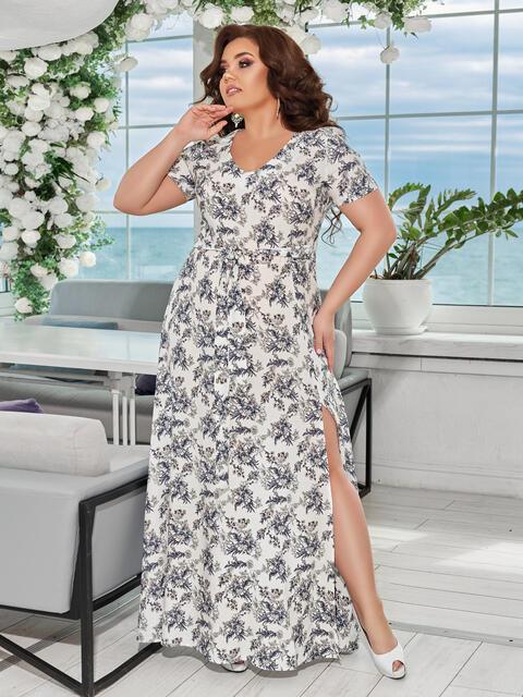 Длинное платье батал с цветочным принтом и разрезами по бокам белое - 49063, фото 1 – интернет-магазин Dressa