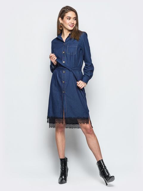 Джинсовое платье-рубашка тёмно-синего цвета - 18485, фото 1 – интернет-магазин Dressa