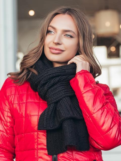 Базовый вязаный шарф черного цвета 55389, фото 1