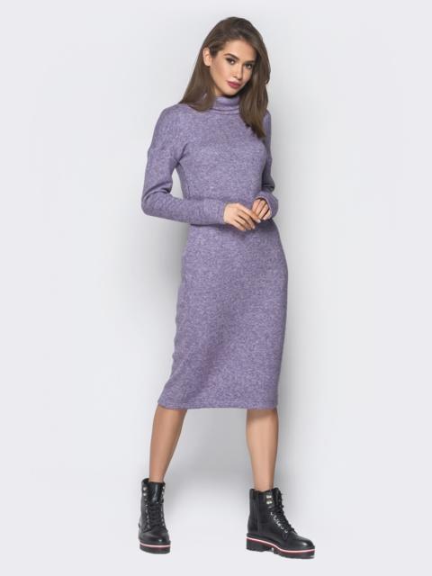 Фиолетовое платье с карманами и воротником-хомут - 18685, фото 1 – интернет-магазин Dressa