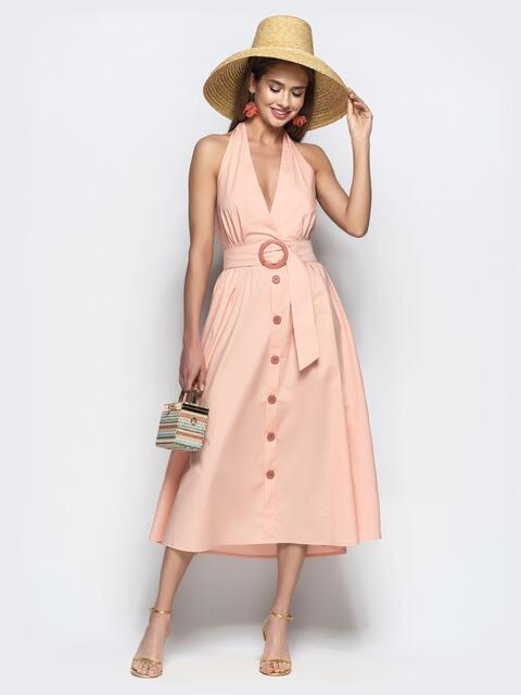 """Хлопковое платье пудрового цвета с вырезом """"петля"""" - 22109, фото 1 – интернет-магазин Dressa"""