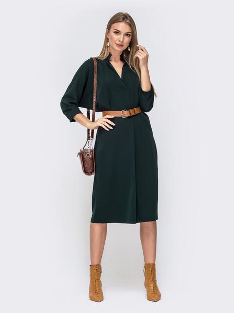 """Платье с рукавом """"летучая мышь"""" и V-вырезом зеленое 40449, фото 1"""